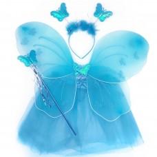 Набор Фея (юбка, крылья, ободок, волшебная палочка), Голубой
