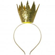 Ободок Корона, Золото, с блестками, 1 шт.