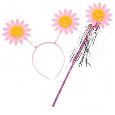 Набор Цветы (ободок и волшебная палочка), Розовый