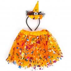 Набор (ободок, юбочка) Ведьмочка, Оранжевый, 1 шт.