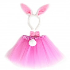Набор (ободок, юбочка, бантик, хвостик) Зайчик, Розовый, 1 шт.