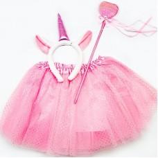 Набор (ободок, юбочка, волшебная палочка) Единорог, Розовый, с блестками, 1 шт.