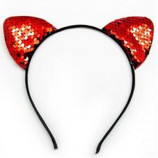 Ободок Ушки, Кошка, Красный, с блестками