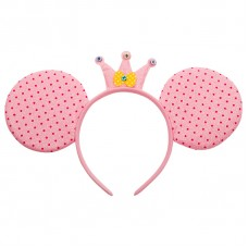 Ободок Мышка Принцесса, Розовый, с блестками, 1 шт.