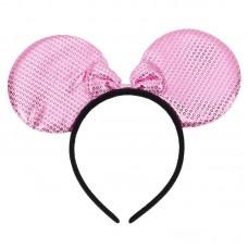 Ободок Ушки, Мышка с бантиком, Розовый, блестящий