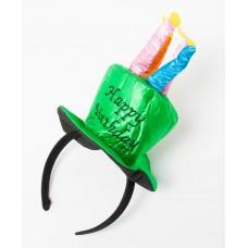 Ободок Шляпка, со свечами, С Днем Рождения, Зеленый, блестящий