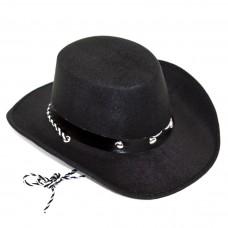 Шляпа Ковбой, Черный, 1 шт.
