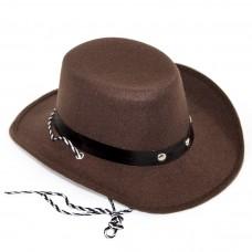 Шляпа Ковбой, Коричневый, 1 шт.
