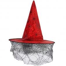 Шляпа Ведьмы Колдовская паутина, Красный, 1 шт.