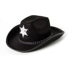 Шляпа Шериф, Черный, 1 шт.
