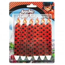 Свечи Леди Баг и Супер-кот, Красный, 7 см, 6 шт.