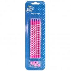 Свечи Белые точки, Розовый, 15 см, 5 шт.